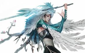Картинка сова, крылья, перья, посох, жезл, колдунья, art, обряд, головной убор, шаманка, vahid ahmadi