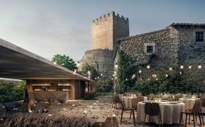Картинка замок, освещение, столы, двор, Castell de Peratellada