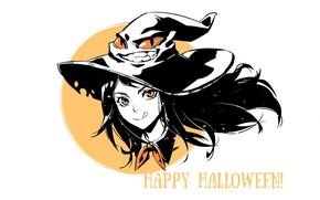 Картинка белый фон, Halloween, хеллоуин, желтые глаза, шляпа ведьмы, ведьмочка, высунул язык, by Saikono