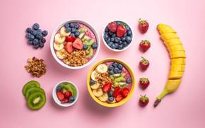 Картинка ягоды, завтрак, киви, черника, клубника, бананы, розовый фон, много, мюсли, ассорти, миски, порезанные