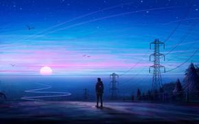 Картинка ночь, провода, парень