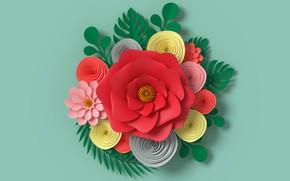 Картинка цветы, рендеринг, узор, colorful, flowers, композиция, rendering, paper, composition, floral