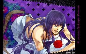 Картинка vocaloid, вокалоид, флирт, фиолетовые волосы, красное яблоко, лежит на постели, Камуи Гакупо, Gakupo Kamui