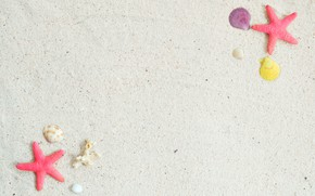 Картинка песок, пляж, фон, звезда, ракушки, summer, beach, sand, marine, starfish, seashells