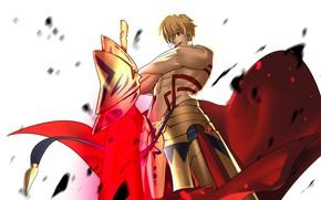 Картинка аниме, арт, парень, Fate/Stay Night, Гильгамеш, арчер, Судьба Ночь схватки