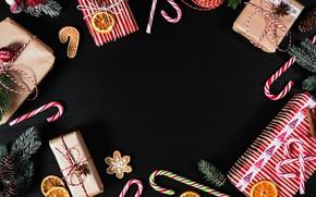 Картинка праздник, новый год, рождество, подарки, леденцы, пряности