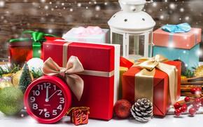 Картинка снег, украшения, Новый Год, Рождество, фонарь, подарки, Christmas, wood, snow, New Year, decoration, xmas, lantern, …