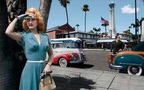 Картинка дорога, авто, девушка, машины, город, платье, очки, Лос-Анджелес, Joyce Harwood