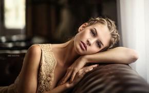 Картинка взгляд, девушка, лицо, диван, платье, kara, Miki Macovei