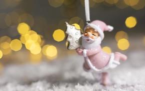 Картинка снег, фон, праздник, елка, новый год, рождество, статуэтка, санта клаус