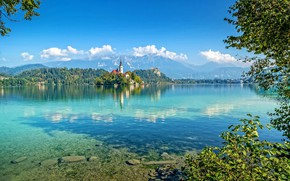 Картинка озеро, фото, замок, Бледское