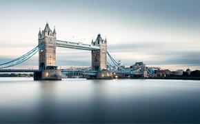 Картинка небо, мост, огни, река, рассвет, Англия, Лондон, дома, Темза, набережная, Tower Bridge, London, Тауэрский Мост