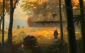 Картинка осень, дом, ребёнок, рожки, ёкай