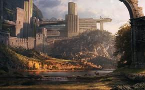 Картинка олени, древний храм, Dylan Pierpont, Ancient Walled Temple