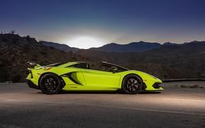 Картинка закат, Roadster, вечер, Lamborghini, суперкар, вид сбоку, Aventador, 2020, SVJ