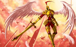 Картинка ангел, меч, доспехи, рыцарь