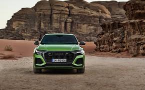 Картинка Audi, пустыня, вид спереди, кроссовер, 2020, RS Q8