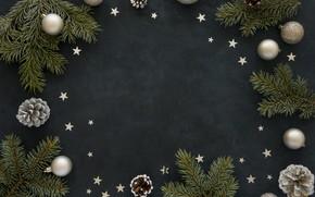 Картинка украшения, шары, Рождество, Новый год, christmas, balls, шишки, wood, stars, decoration, fir tree, ветки ели