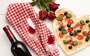 Картинка вино, бокал, розы, букет, ткань, пицца, pizza, маслины, ужин, vine, шпинат