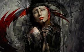 Картинка взгляд, фон, рисунок, Девушка