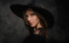 Картинка взгляд, девушка, портрет, шляпа, брюнетка, Черепко Павел