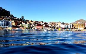 Картинка город, Боливия, Bolivia, Copacabana, озеро Титикака, город Копакабана