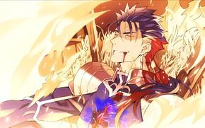 Картинка кровь, парень, лансер, Судьба ночь схватки, Fate / Stay Night
