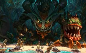Картинка лес, пляж, тропики, пальмы, люди, монстр, существо, джунгли, аборигены, League Of Legends, Maokai, подношения