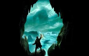 Картинка море, шторм, игра, человек, фонарь, Ктулху, мужчина, game, storm, детектив, Cthulhu, sea, man, detective, 2018, …
