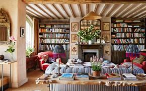 Картинка дизайн, стиль, интерьер, камин, библиотека, гостиная, England home