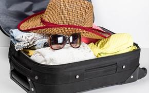 Картинка отдых, одежда, шляпа, очки, чемодан