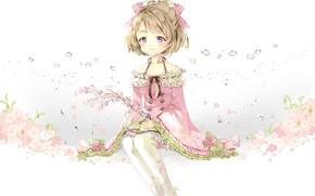 Картинка взгляд, цветы, арт, девочка