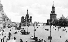 Картинка кремль, красная площадь, чёрно-белая фотография, гум, старая москва, дореволюционная россия, москва 19 век, дореволюционная москва, …