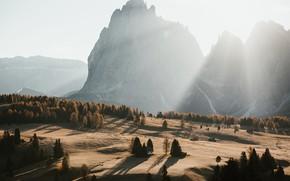 Картинка песок, солнце, лучи, деревья, горы, рассвет, утро