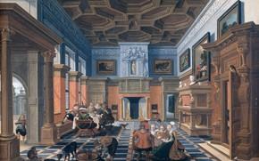 Картинка масло, картина, 1624, Компания в интерьере, Bartholomeus van Bassen, Варфоломей ван Бассен