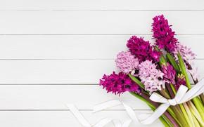 Картинка белый, цветы, фон, лента, wood, гиацинты, bouguet