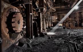 Картинка фон, металлолом, заброшенная, котел, фабрика, луч света, котельная