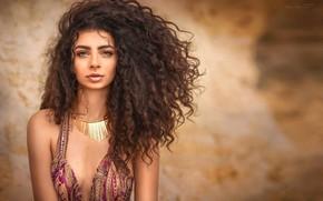Картинка девушка, модель, волосы, платье, кудри, Илона Баимова, Зина Алоян