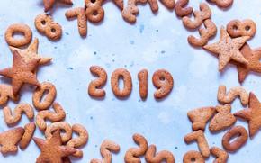 Картинка украшения, Новый Год, Рождество, happy, Christmas, wood, New Year, cookies, decoration, Merry, 2019