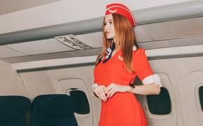 Картинка взгляд, Девушка, форма, самолёт, стюардесса, Антон Харисов, Ксения Серкова