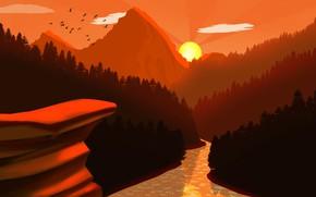 Картинка forest, river, trees, landscape, nature, Sunset, art, mountains, birds, sun, digital art, artwork