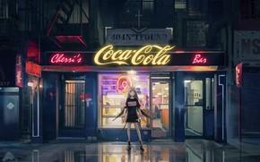 Картинка девушка, улица, вечер, вывески