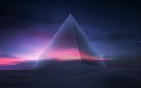 Картинка Небо, Песок, Пирамида, Fantasy, Арт, Night, Фантастика, Дюны, Concept Art, Hani Jamal, by Hani Jamal, …