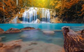 Картинка осень, лес, листья, пейзаж, река, скалы, водопад, forest, river, landscape, beautiful, autumn, leaves, waterfall