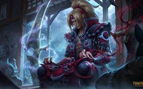Картинка медитация, samurai, поза лотоса, темная материя, Smite, Tsukuyomi, супер-оружие, черная магия, Смит, руки в крови