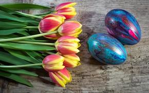 Картинка букет, весна, тюльпаны, пасхальные яйца, красочный, природы, окрашенный