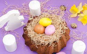 Картинка цветы, праздник, яйца, весна, свечи, пасха, кулич, нарциссы