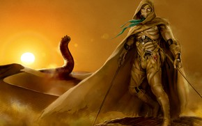 Картинка пустыня, воин, червь