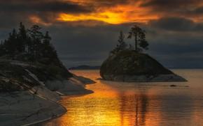 Картинка небо, вода, деревья, закат, озеро, Антон Шваин