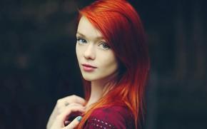 Картинка взгляд, девушка, лицо, поза, модель, рыжая, Julie Kennedy